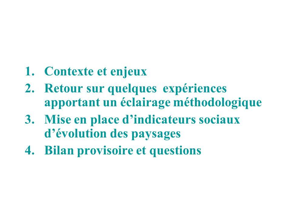 1.Contexte et enjeux 2.Retour sur quelques expériences apportant un éclairage méthodologique 3.Mise en place dindicateurs sociaux dévolution des paysa