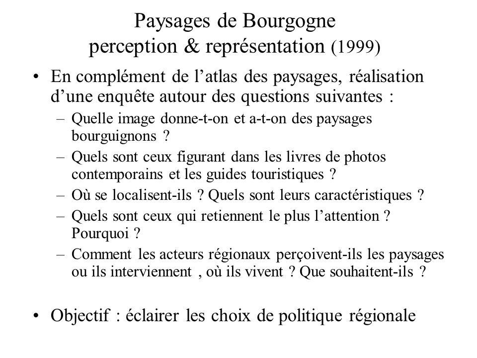Paysages de Bourgogne perception & représentation (1999) En complément de latlas des paysages, réalisation dune enquête autour des questions suivantes