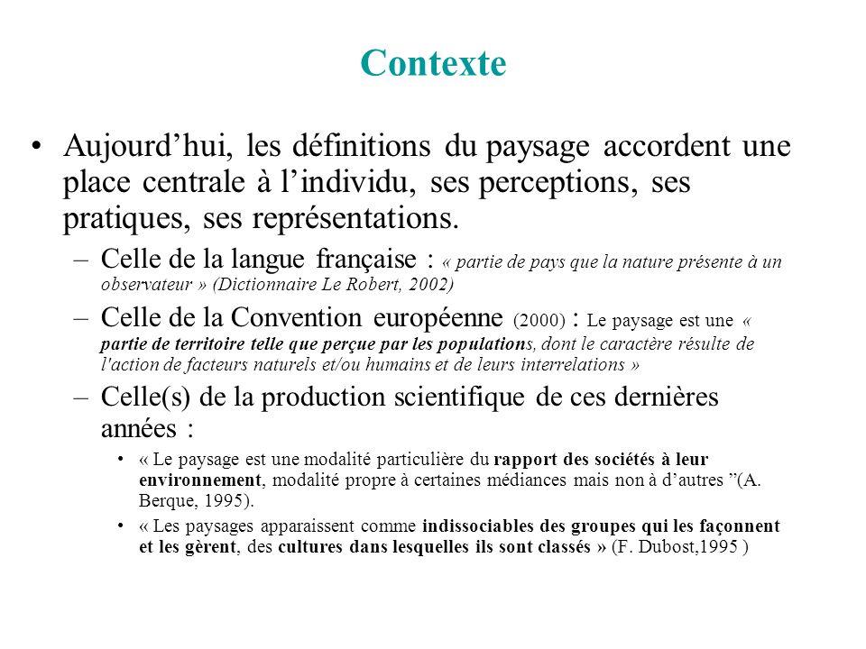 Contexte Aujourdhui, les définitions du paysage accordent une place centrale à lindividu, ses perceptions, ses pratiques, ses représentations. –Celle