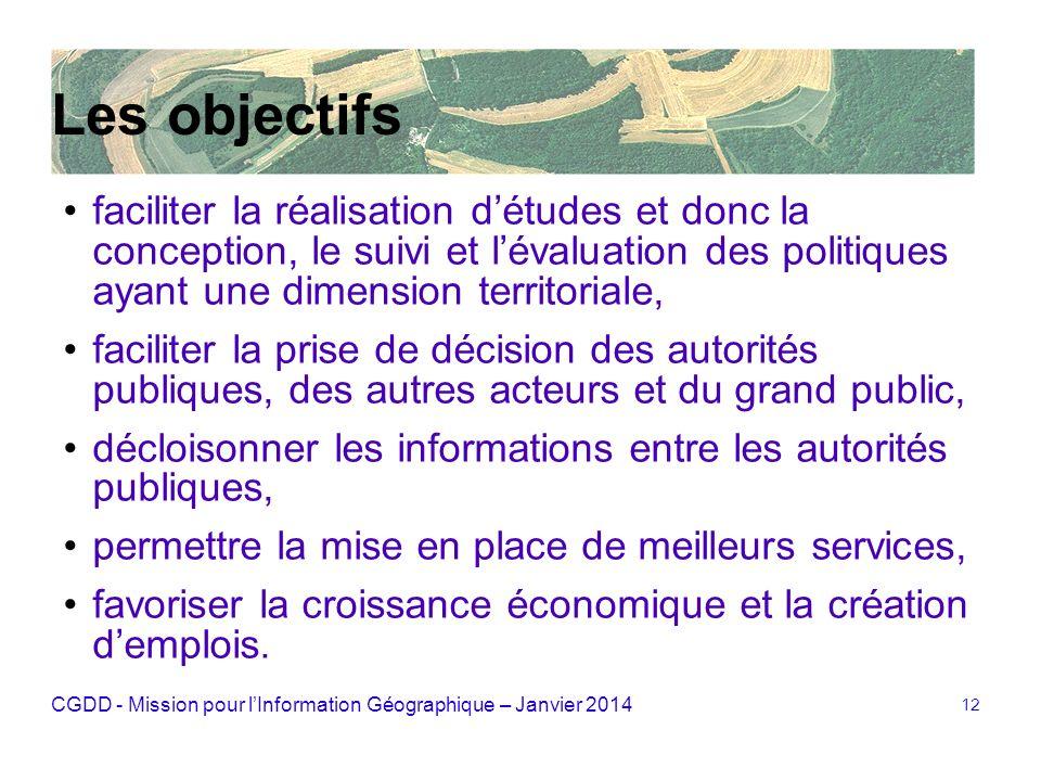 CGDD - Mission pour lInformation Géographique – Janvier 2014 12 Les objectifs faciliter la réalisation détudes et donc la conception, le suivi et léva