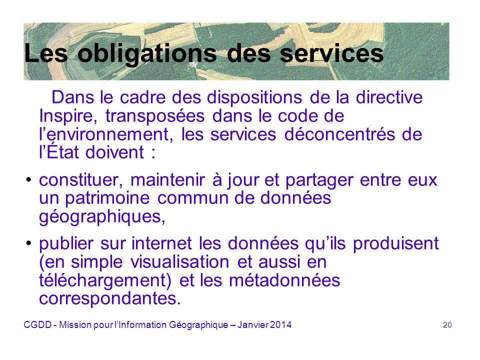 CGDD - Mission pour lInformation Géographique – Janvier 2014 20 Les obligations des services Dans le cadre des dispositions de la directive Inspire, t