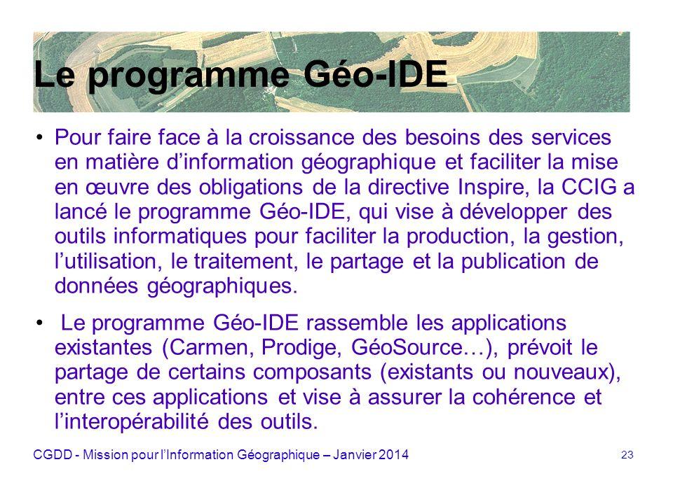CGDD - Mission pour lInformation Géographique – Janvier 2014 23 Le programme Géo-IDE Pour faire face à la croissance des besoins des services en matiè