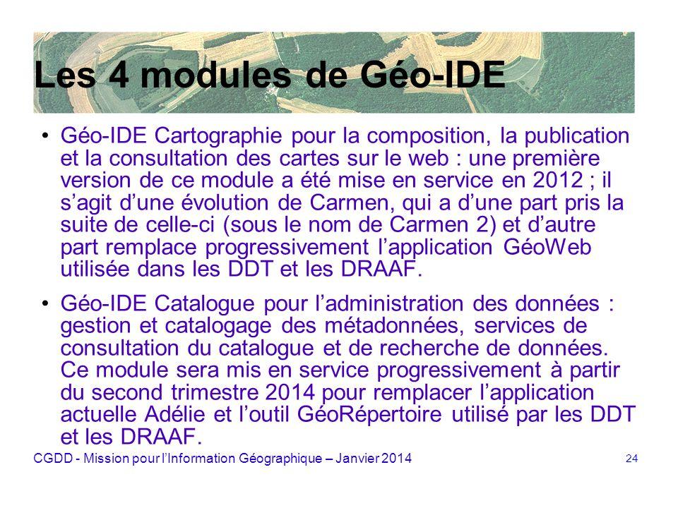 CGDD - Mission pour lInformation Géographique – Janvier 2014 24 Les 4 modules de Géo-IDE Géo IDE Cartographie pour la composition, la publication et l