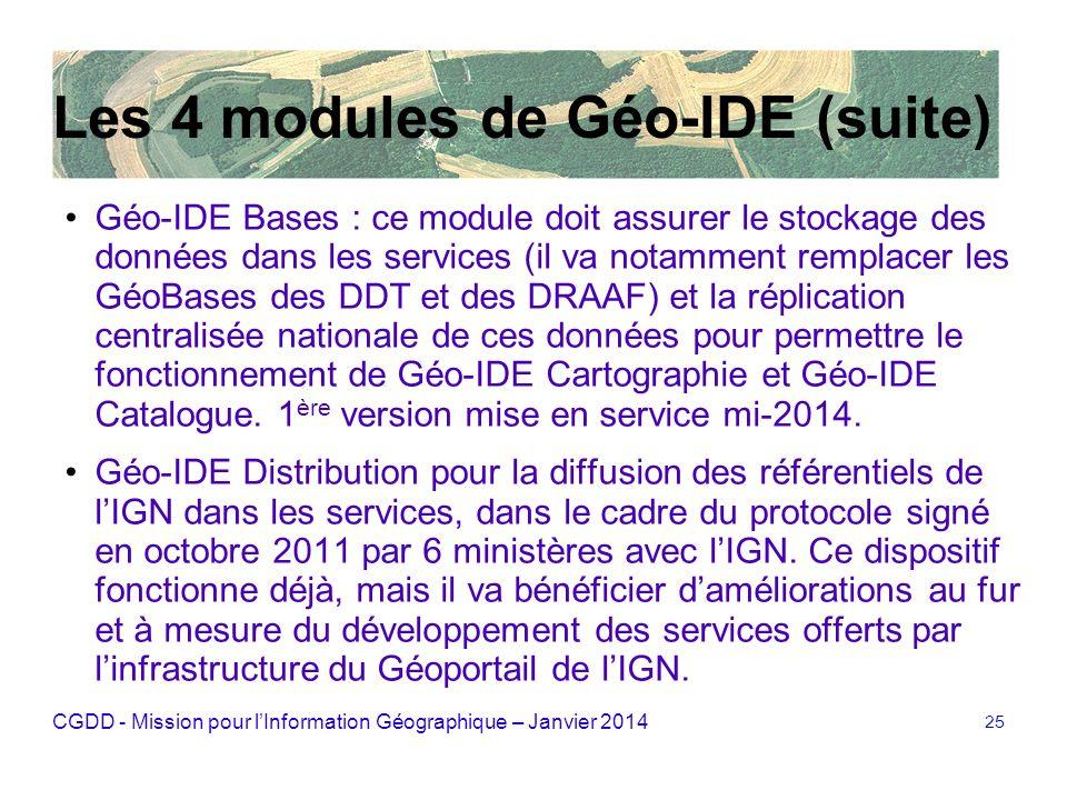 CGDD - Mission pour lInformation Géographique – Janvier 2014 25 Les 4 modules de Géo-IDE (suite) Géo-IDE Bases : ce module doit assurer le stockage de