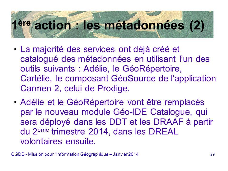 CGDD - Mission pour lInformation Géographique – Janvier 2014 29 1 ère action : les métadonnées (2) La majorité des services ont déjà créé et catalogué