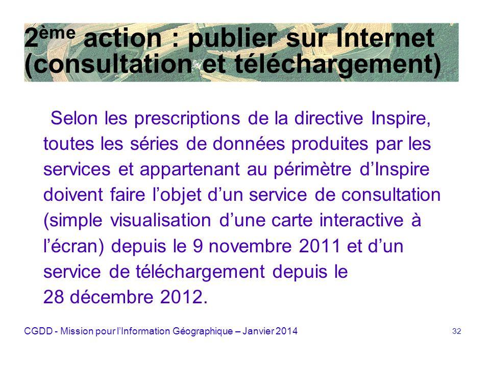 CGDD - Mission pour lInformation Géographique – Janvier 2014 32 2 ème action : publier sur Internet (consultation et téléchargement) Selon les prescri