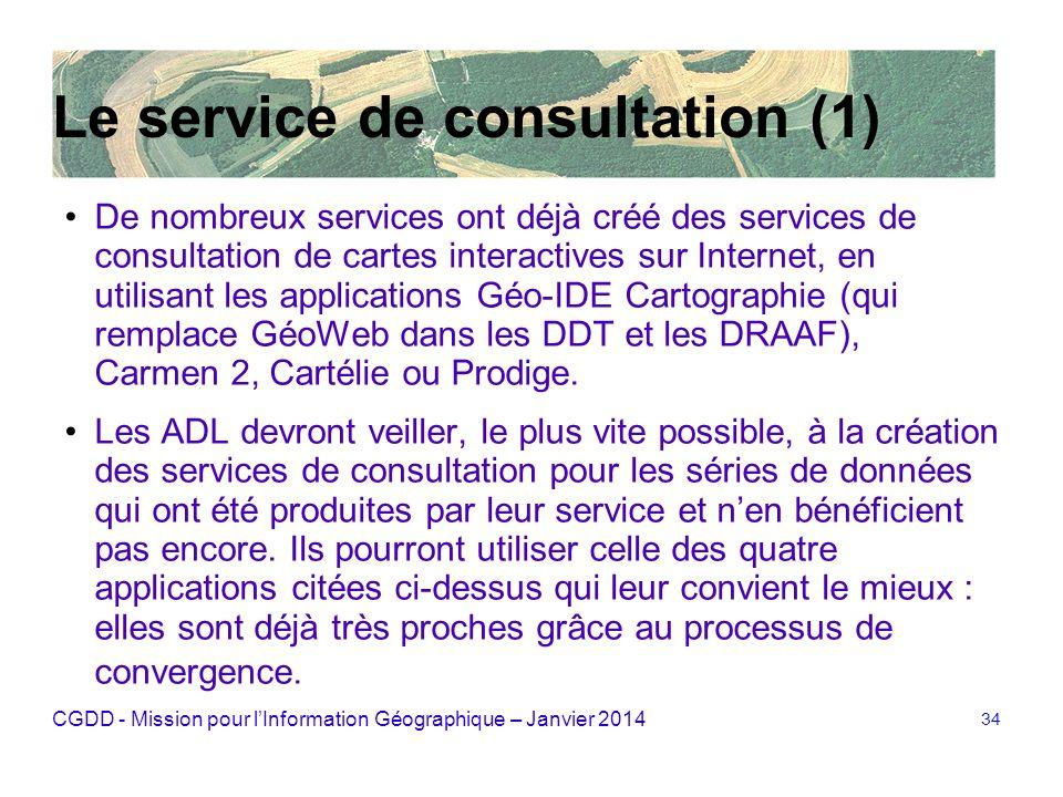 CGDD - Mission pour lInformation Géographique – Janvier 2014 34 Le service de consultation (1) De nombreux services ont déjà créé des services de cons