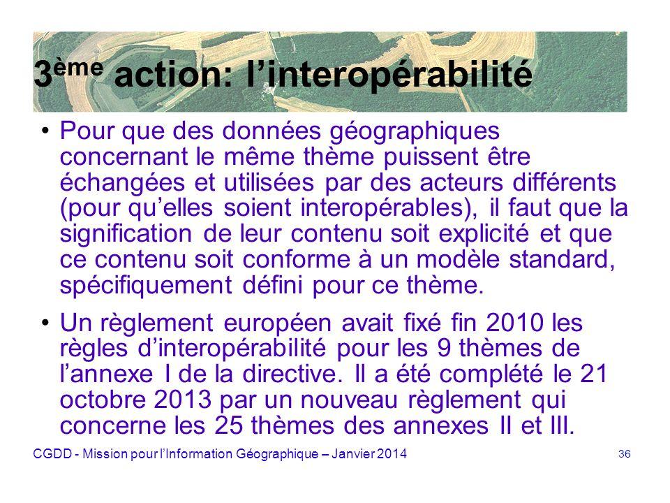 CGDD - Mission pour lInformation Géographique – Janvier 2014 36 3 ème action: linteropérabilité Pour que des données géographiques concernant le même