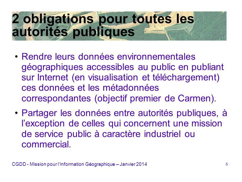 CGDD - Mission pour lInformation Géographique – Janvier 2014 5 2 obligations pour toutes les autorités publiques Rendre leurs données environnementale