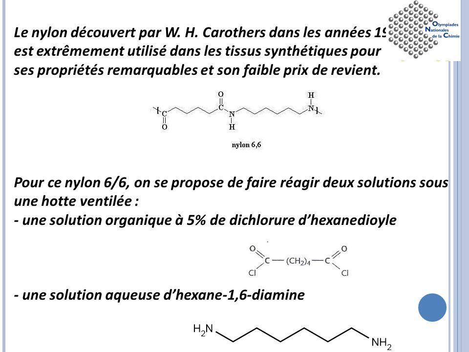 Le nylon découvert par W. H. Carothers dans les années 1930 est extrêmement utilisé dans les tissus synthétiques pour ses propriétés remarquables et s