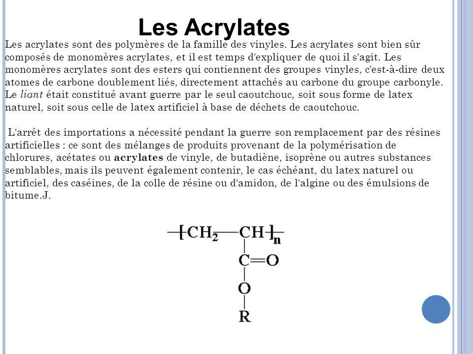 Les acrylates sont des polymères de la famille des vinyles. Les acrylates sont bien sûr composés de monomères acrylates, et il est temps d'expliquer d