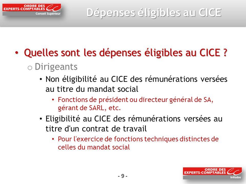 - 10 - Dépenses éligibles au CICE Quelles sont les dépenses éligibles au CICE .