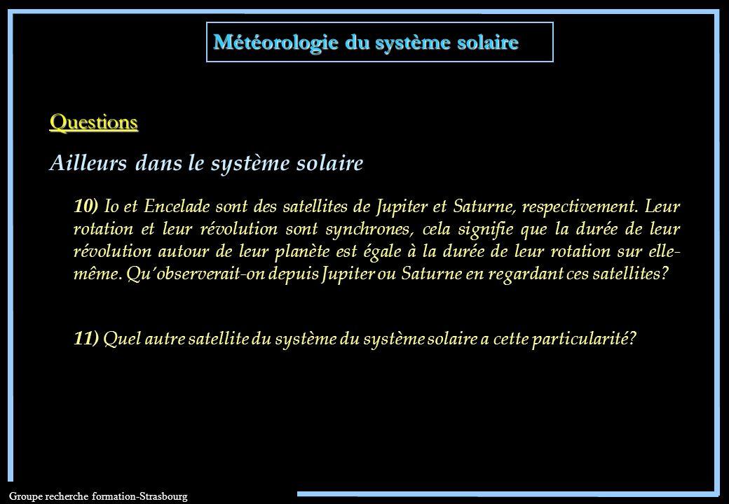Météorologie du système solaire Groupe recherche formation-Strasbourg 10) Io et Encelade sont des satellites de Jupiter et Saturne, respectivement. Le