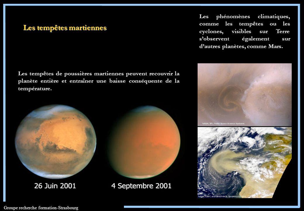 Groupe recherche formation-Strasbourg Les tempêtes de poussières martiennes peuvent recouvrir la planète entière et entraîner une baisse conséquente d