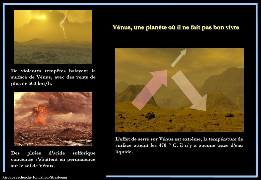 Groupe recherche formation-Strasbourg Leffet de serre sur Vénus est extrême, la température de surface atteint les 470 ° C, il ny a aucune trace deau