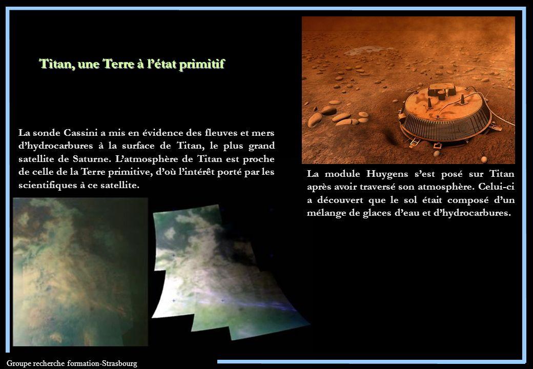 Groupe recherche formation-Strasbourg Titan, une Terre à létat primitif La module Huygens sest posé sur Titan après avoir traversé son atmosphère. Cel