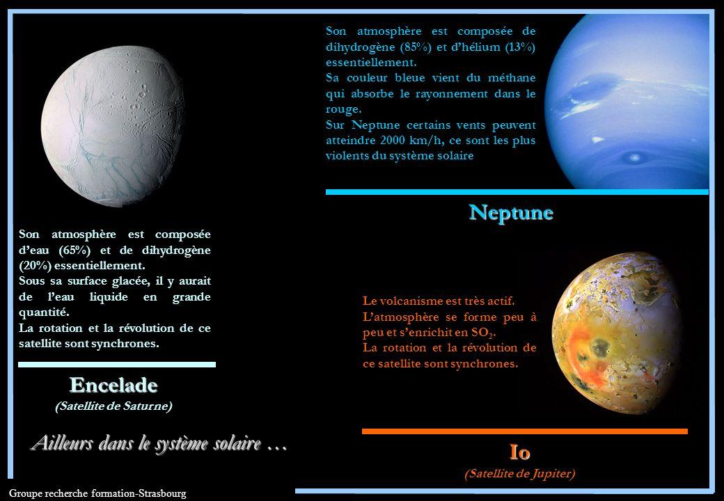 Groupe recherche formation-Strasbourg Io (Satellite de Jupiter) Encelade (Satellite de Saturne) Neptune Le volcanisme est très actif. Latmosphère se f