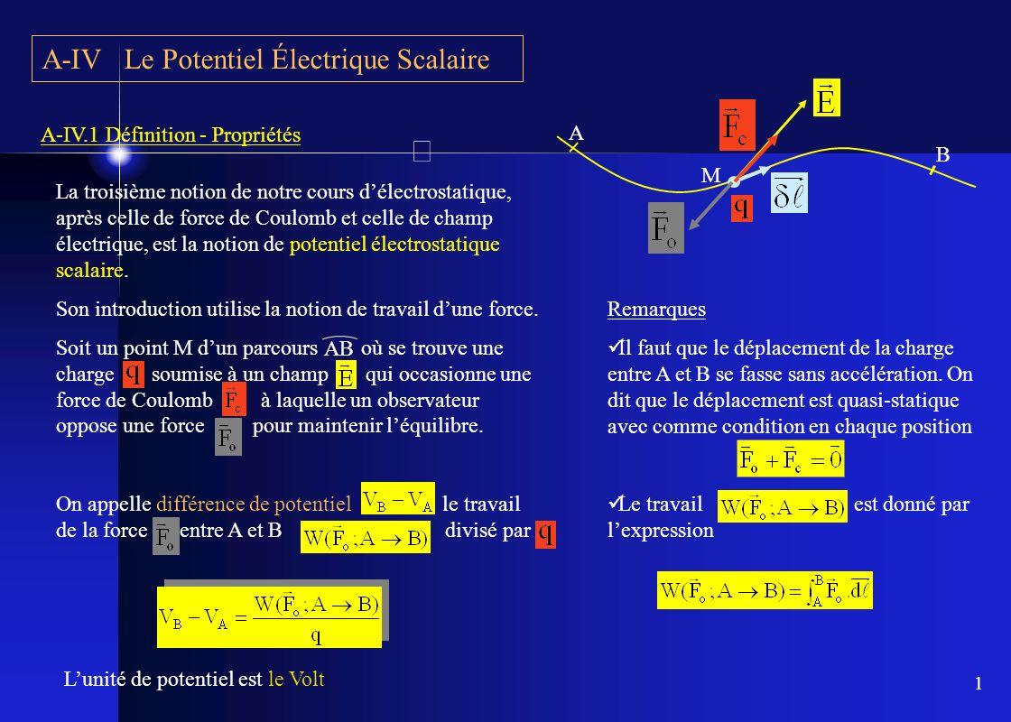 1 A-IV Le Potentiel Électrique Scalaire A-IV.1 Définition - Propriétés La troisième notion de notre cours délectrostatique, après celle de force de Co