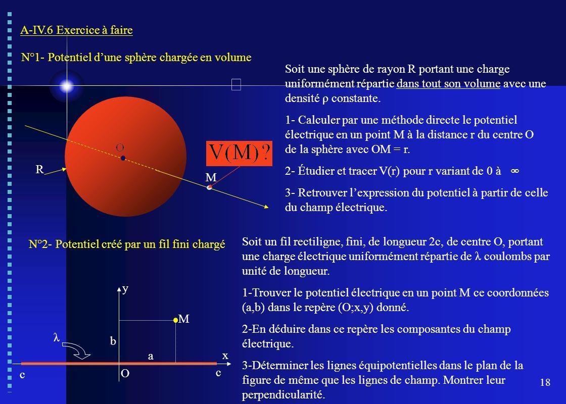 18 A-IV.6 Exercice à faire N°1- Potentiel dune sphère chargée en volume Soit une sphère de rayon R portant une charge uniformément répartie dans tout