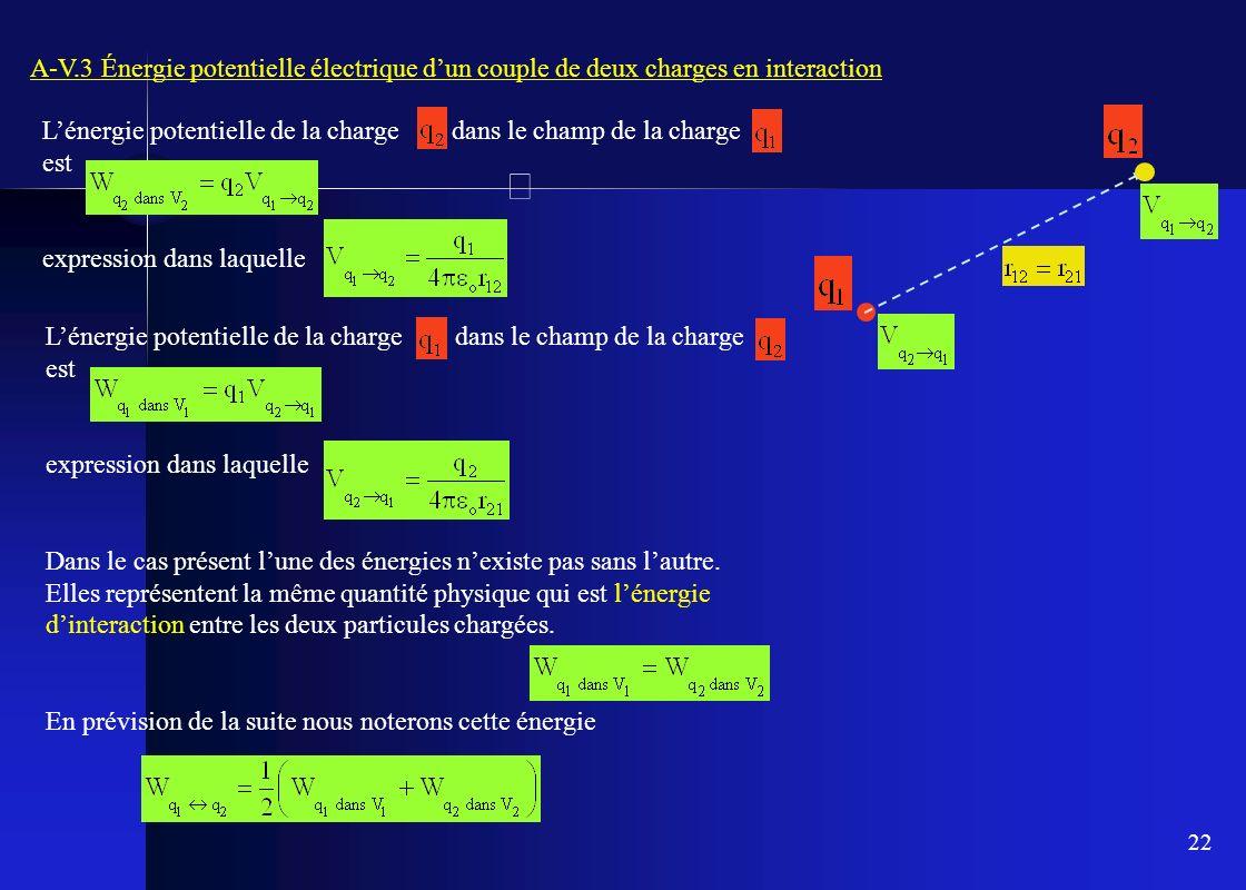 22 A-V.3 Énergie potentielle électrique dun couple de deux charges en interaction Lénergie potentielle de la charge dans le champ de la charge est exp