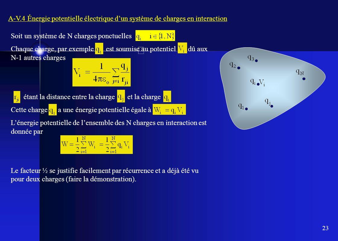 23 A-V.4 Énergie potentielle électrique dun système de charges en interaction Soit un système de N charges ponctuelles Chaque charge, par exemple est