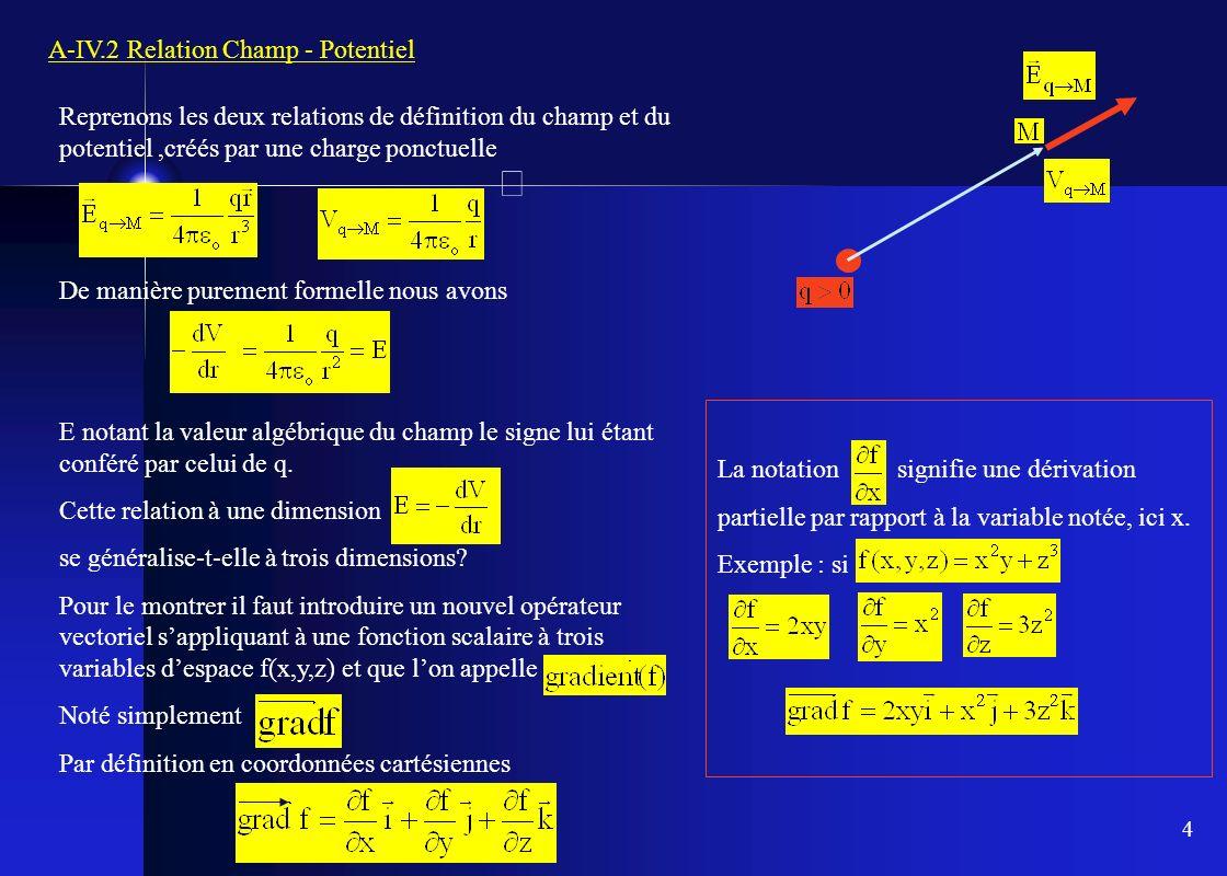 4 A-IV.2 Relation Champ - Potentiel Reprenons les deux relations de définition du champ et du potentiel,créés par une charge ponctuelle De manière pur