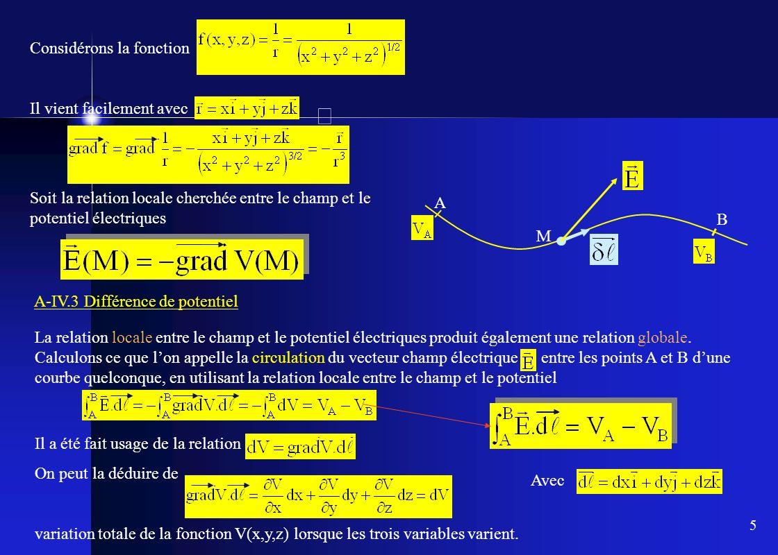5 Considérons la fonction Il vient facilement avec Soit la relation locale cherchée entre le champ et le potentiel électriques A-IV.3 Différence de po