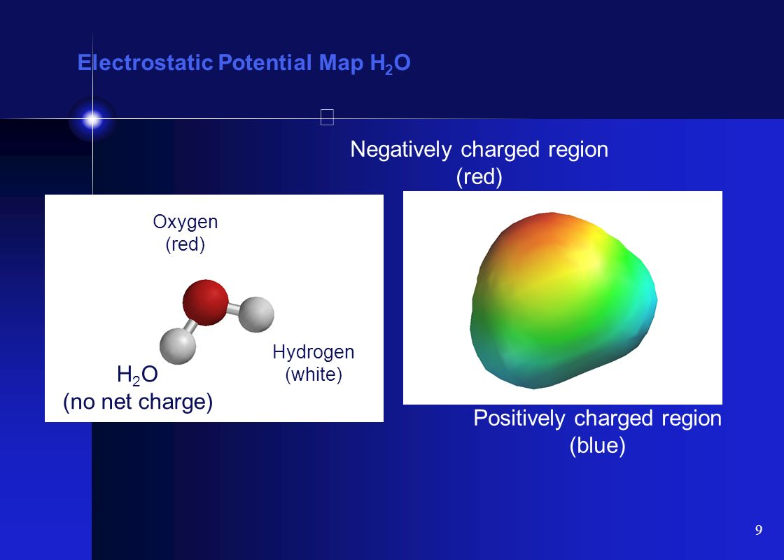 10 Electrostatic Potential Map H 3 O + More positive (blue) Less positive (green) H 3 O + (+1 charge) Oxygen (red) Hydrogen (white)