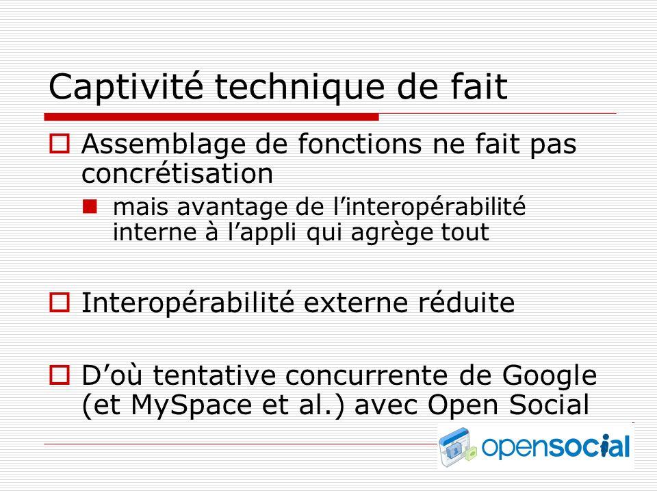 Captivité technique de fait Assemblage de fonctions ne fait pas concrétisation mais avantage de linteropérabilité interne à lappli qui agrège tout Interopérabilité externe réduite Doù tentative concurrente de Google (et MySpace et al.) avec Open Social