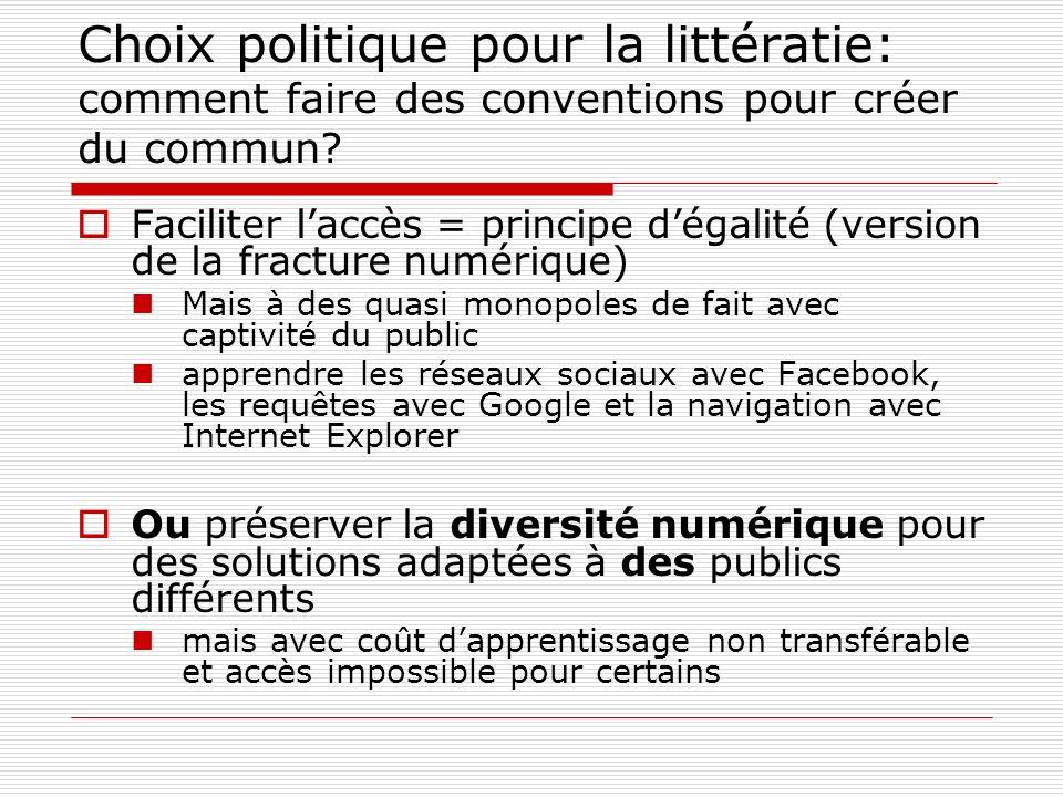 Choix politique pour la littératie: comment faire des conventions pour créer du commun? Faciliter laccès = principe dégalité (version de la fracture n