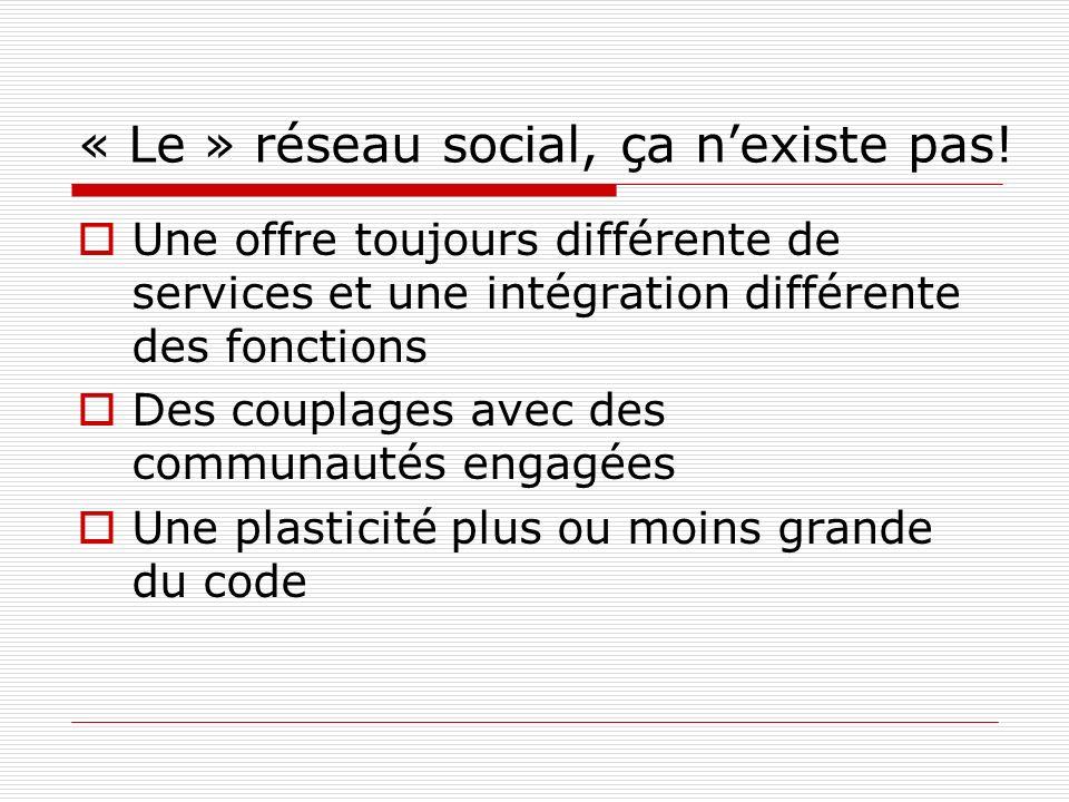 « Le » réseau social, ça nexiste pas! Une offre toujours différente de services et une intégration différente des fonctions Des couplages avec des com