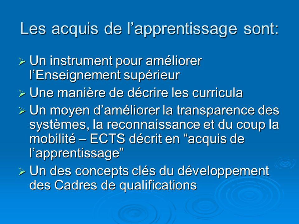 Les acquis de lapprentissage sont: Un instrument pour améliorer lEnseignement supérieur Un instrument pour améliorer lEnseignement supérieur Une maniè