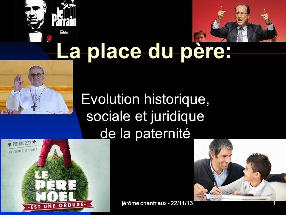 jérôme chantriaux - 22/11/131 La place du père: Evolution historique, sociale et juridique de la paternité