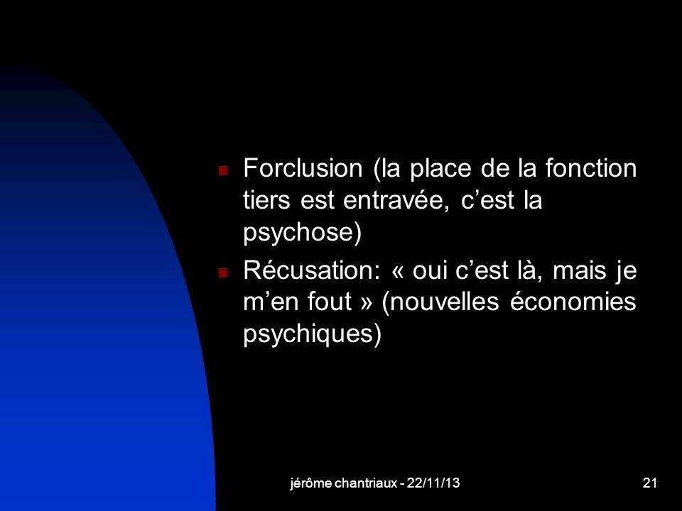 Forclusion (la place de la fonction tiers est entravée, cest la psychose) Récusation: « oui cest là, mais je men fout » (nouvelles économies psychiques) jérôme chantriaux - 22/11/1321