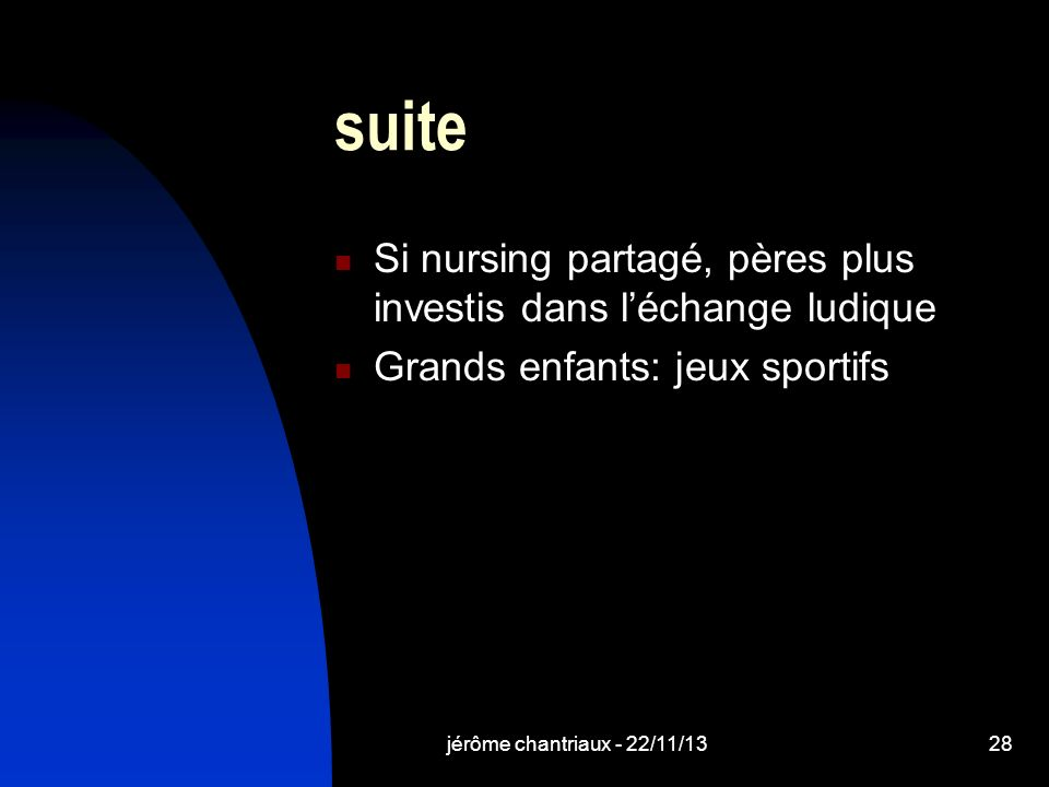 jérôme chantriaux - 22/11/1328 suite Si nursing partagé, pères plus investis dans léchange ludique Grands enfants: jeux sportifs