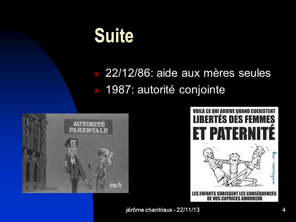 jérôme chantriaux - 22/11/134 Suite 22/12/86: aide aux mères seules 1987: autorité conjointe