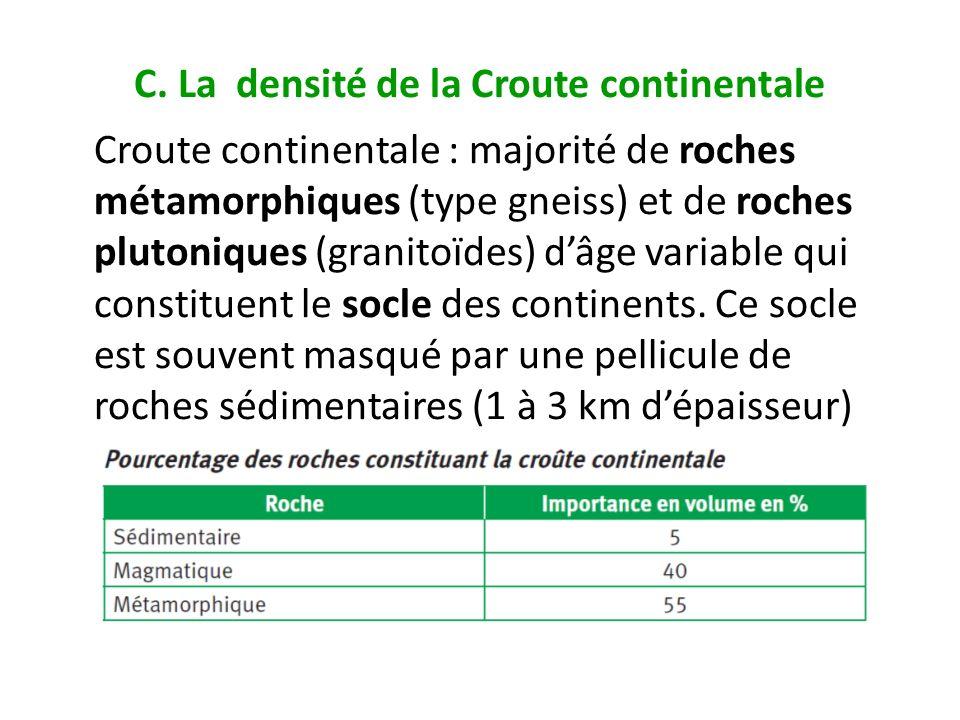 C. La densité de la Croute continentale Croute continentale : majorité de roches métamorphiques (type gneiss) et de roches plutoniques (granitoïdes) d