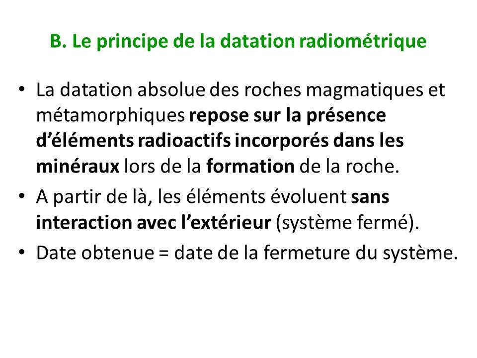 B. Le principe de la datation radiométrique La datation absolue des roches magmatiques et métamorphiques repose sur la présence déléments radioactifs