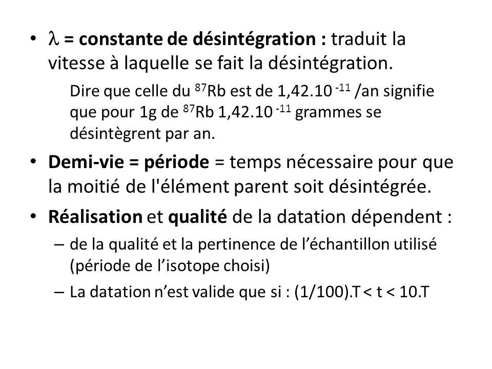 = constante de désintégration : traduit la vitesse à laquelle se fait la désintégration. Dire que celle du 87 Rb est de 1,42.10 -11 /an signifie que p