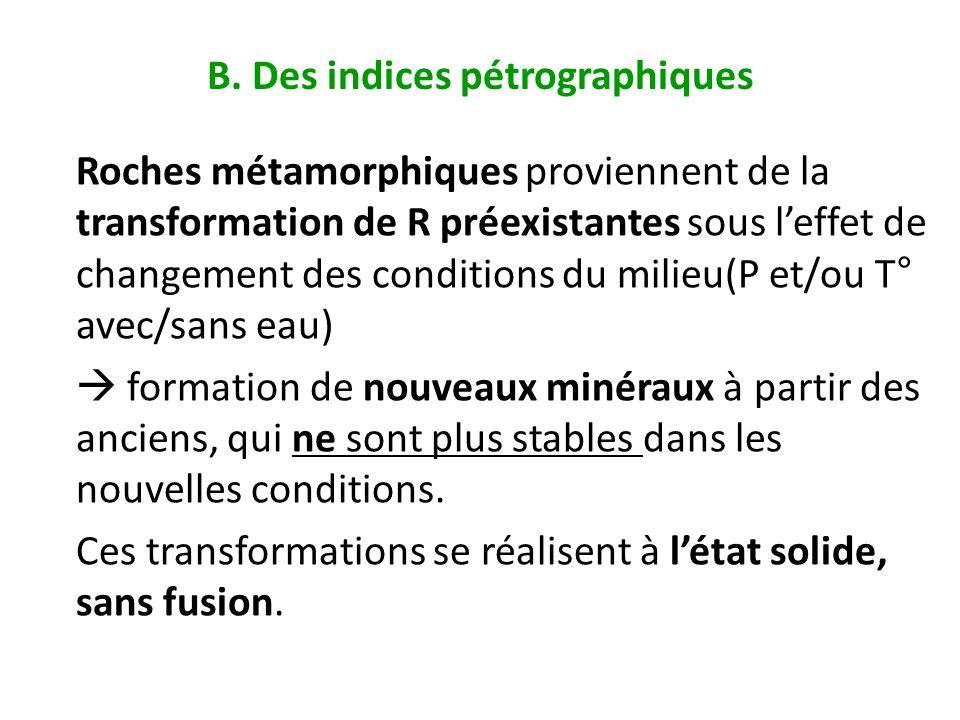 B. Des indices pétrographiques Roches métamorphiques proviennent de la transformation de R préexistantes sous leffet de changement des conditions du m