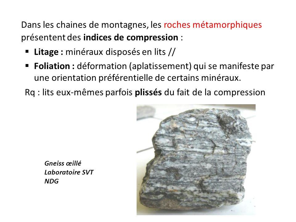 Dans les chaines de montagnes, les roches métamorphiques présentent des indices de compression : Litage : minéraux disposés en lits // Foliation : déformation (aplatissement) qui se manifeste par une orientation préférentielle de certains minéraux.