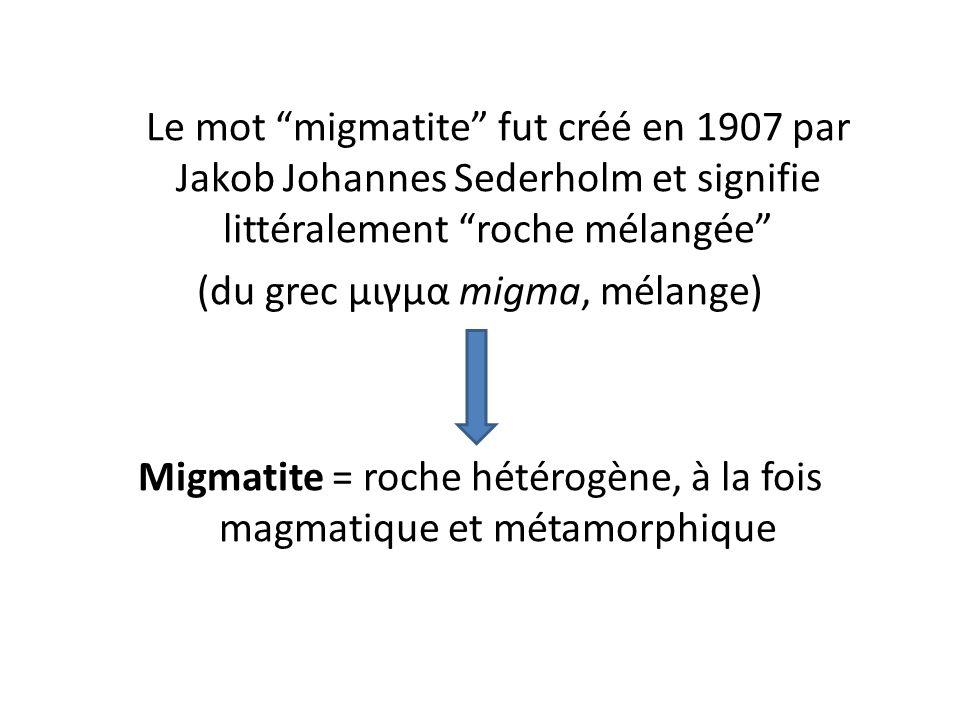Le mot migmatite fut créé en 1907 par Jakob Johannes Sederholm et signifie littéralement roche mélangée (du grec μιγμα migma, mélange) Migmatite = roche hétérogène, à la fois magmatique et métamorphique