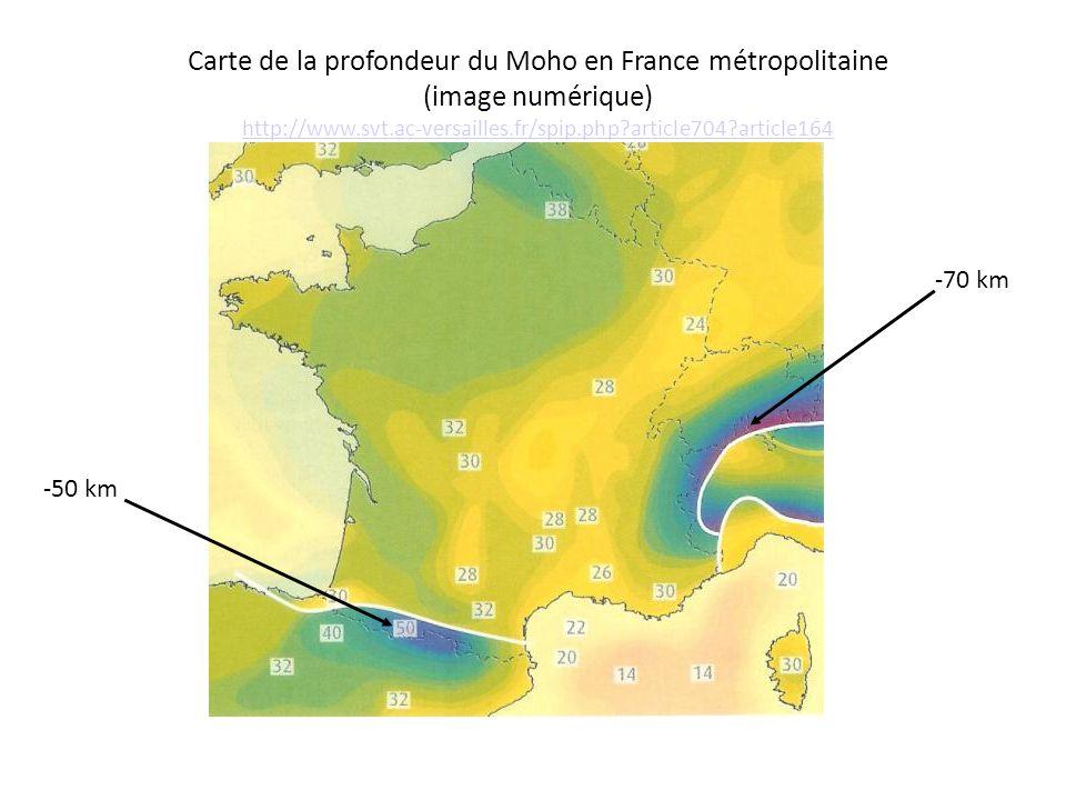 Carte de la profondeur du Moho en France métropolitaine (image numérique) http://www.svt.ac-versailles.fr/spip.php?article704?article164 http://www.sv