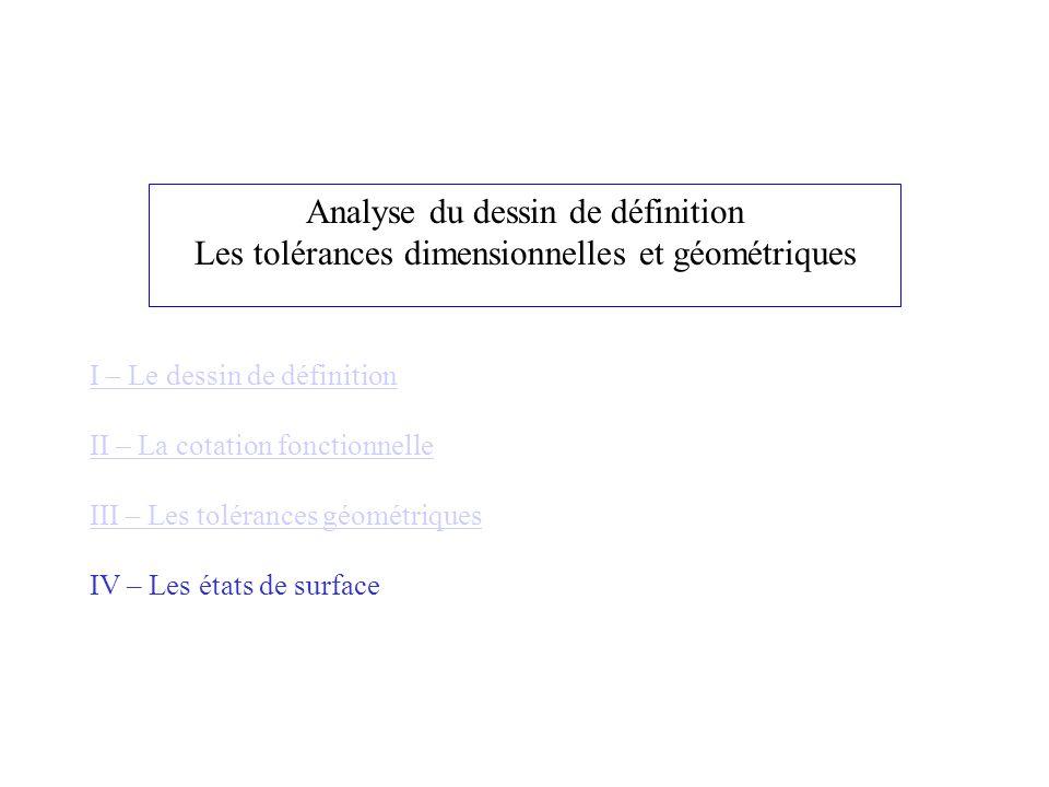 Analyse du dessin de définition Les tolérances dimensionnelles et géométriques I – Le dessin de définition II – La cotation fonctionnelle III – Les to