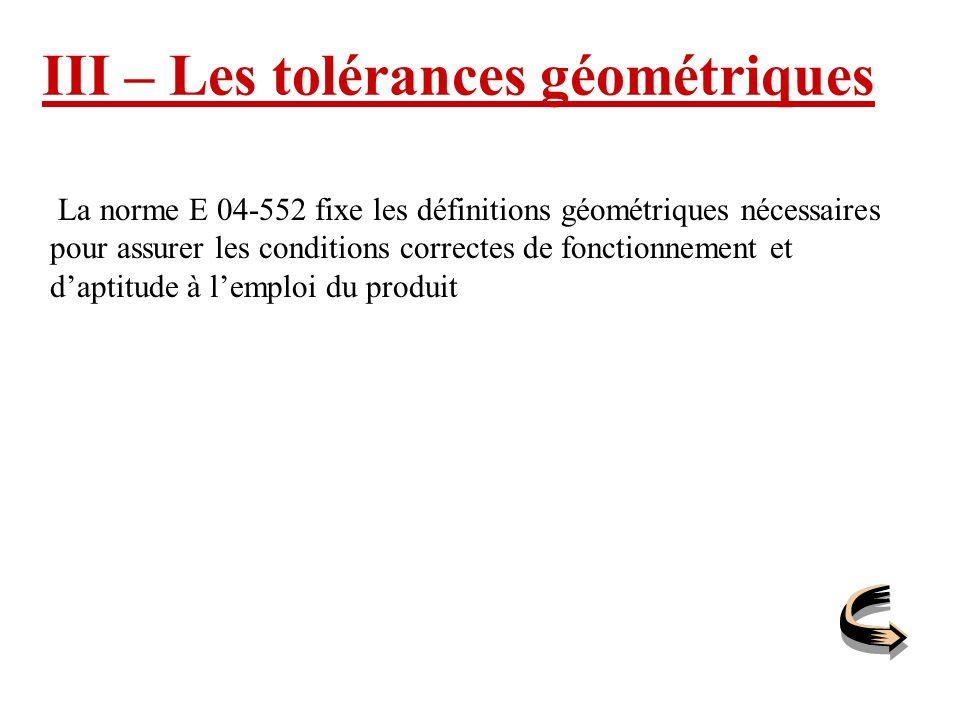 III – Les tolérances géométriques La norme E 04-552 fixe les définitions géométriques nécessaires pour assurer les conditions correctes de fonctionnem