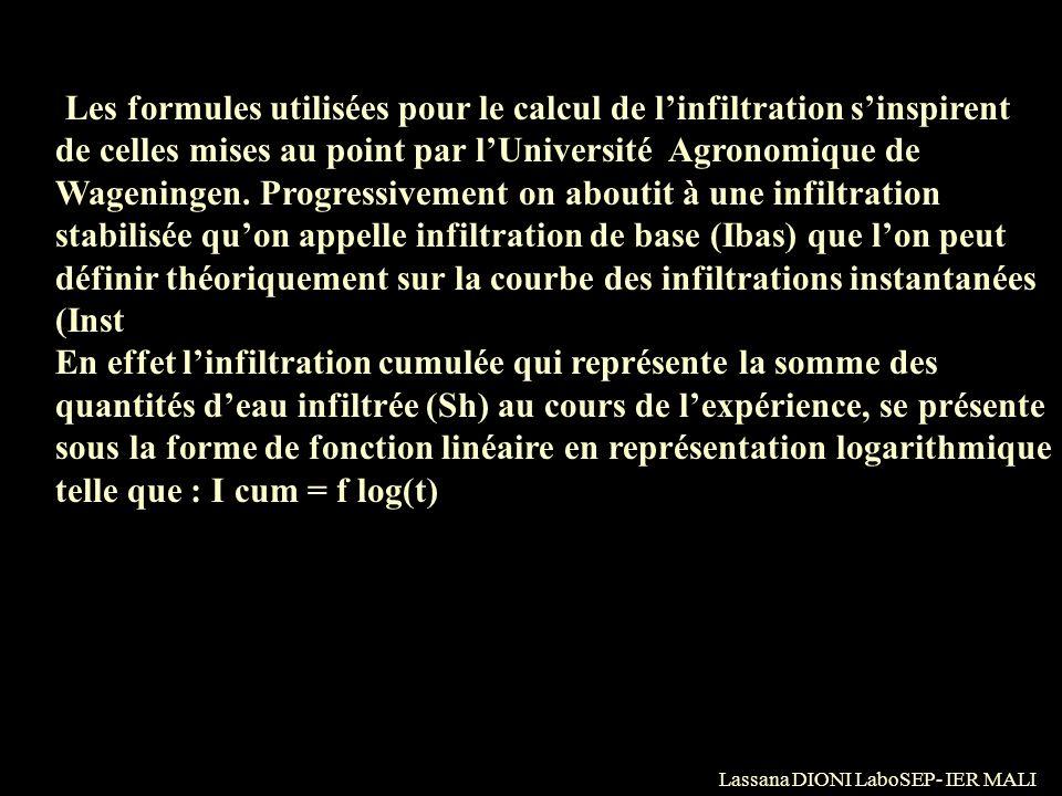 Lassana DIONI LaboSEP- IER MALI Les formules utilisées pour le calcul de linfiltration sinspirent de celles mises au point par lUniversité Agronomique