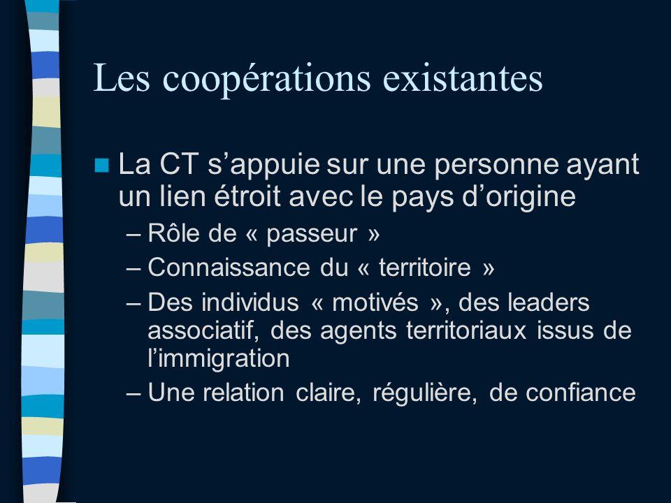 Les coopérations existantes La CT sappuie sur une personne ayant un lien étroit avec le pays dorigine –Rôle de « passeur » –Connaissance du « territoire » –Des individus « motivés », des leaders associatif, des agents territoriaux issus de limmigration –Une relation claire, régulière, de confiance