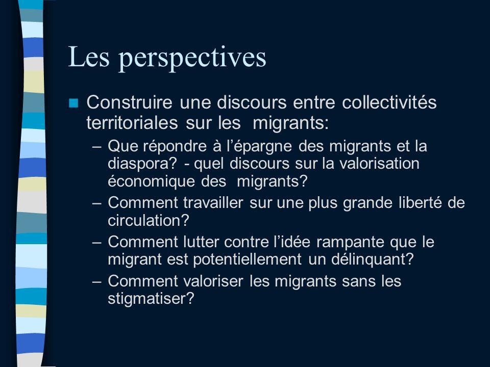 Les perspectives Construire une discours entre collectivités territoriales sur les migrants: –Que répondre à lépargne des migrants et la diaspora.