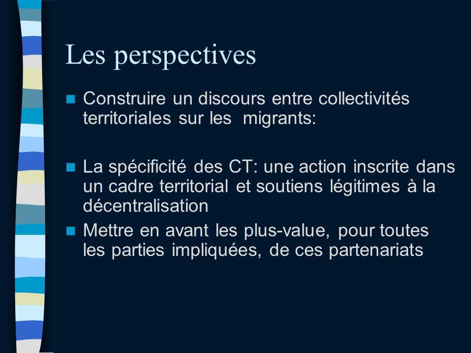Les perspectives Construire un discours entre collectivités territoriales sur les migrants: La spécificité des CT: une action inscrite dans un cadre territorial et soutiens légitimes à la décentralisation Mettre en avant les plus-value, pour toutes les parties impliquées, de ces partenariats
