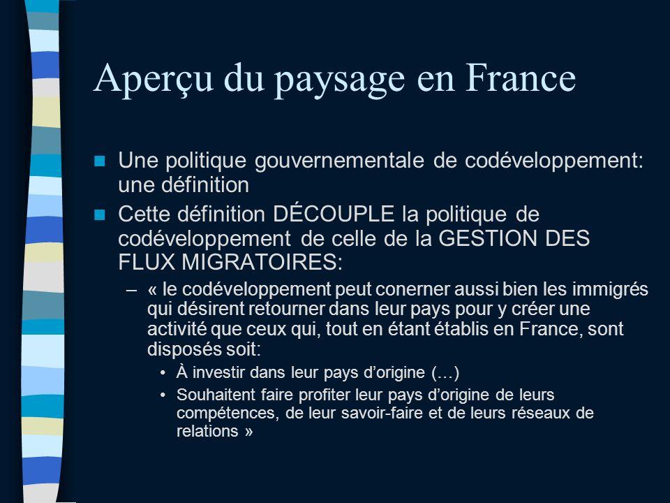Aperçu du paysage en France Une politique gouvernementale de codéveloppement: une définition Cette définition DÉCOUPLE la politique de codéveloppement de celle de la GESTION DES FLUX MIGRATOIRES: –« le codéveloppement peut conerner aussi bien les immigrés qui désirent retourner dans leur pays pour y créer une activité que ceux qui, tout en étant établis en France, sont disposés soit: À investir dans leur pays dorigine (…) Souhaitent faire profiter leur pays dorigine de leurs compétences, de leur savoir-faire et de leurs réseaux de relations »